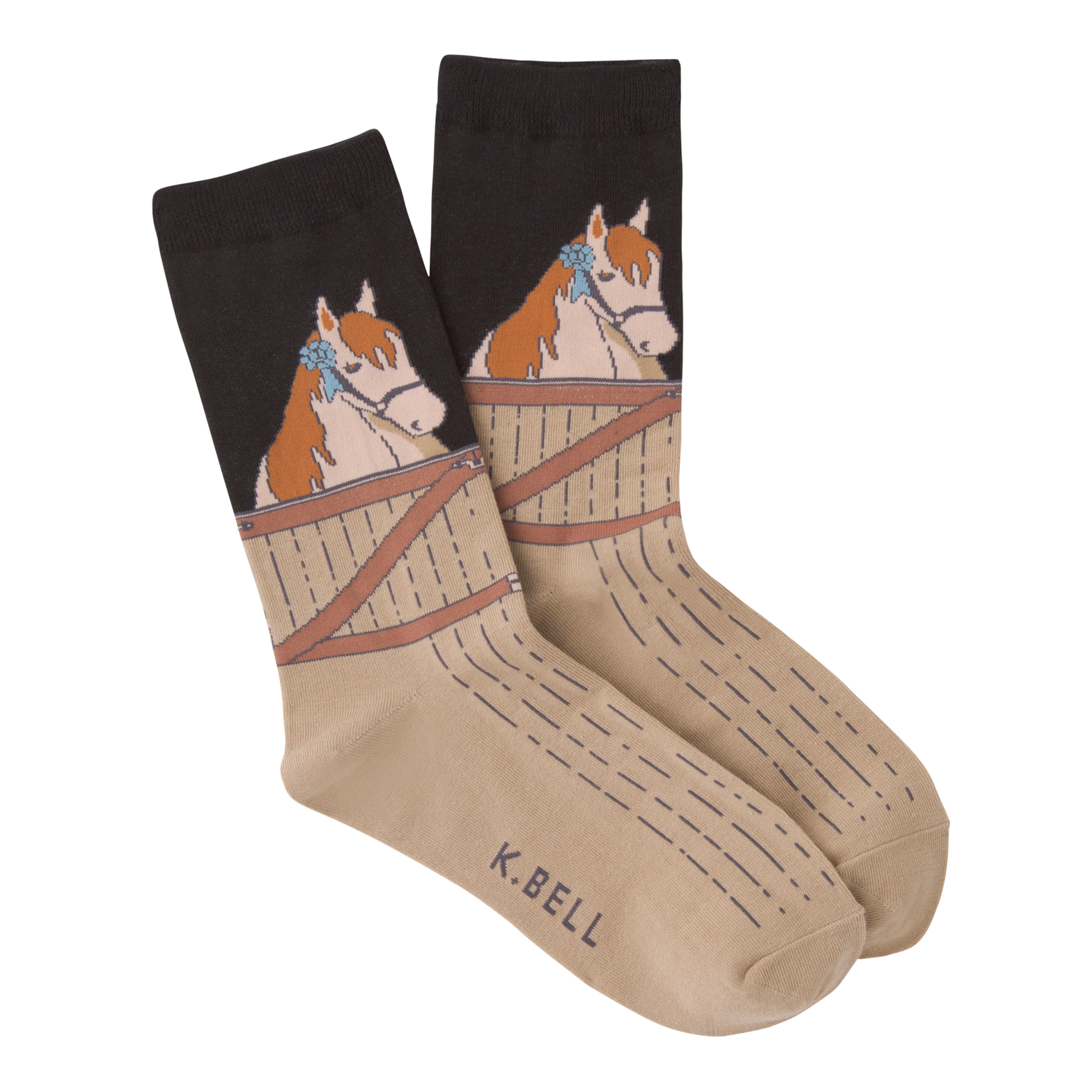 Socks with horse barn illustration