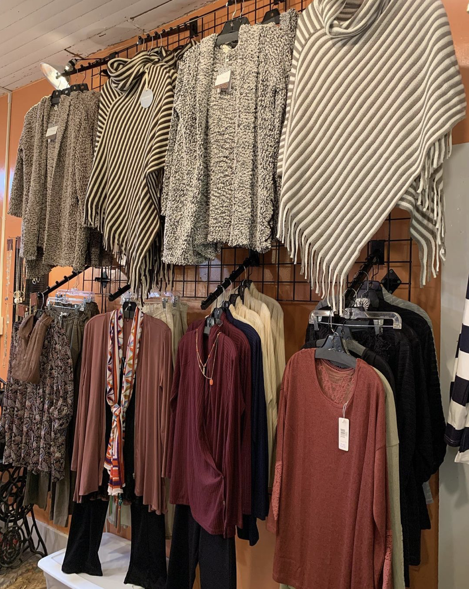 Display with clothing